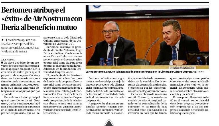 REVISTA DE PRENSA: La clase de Carlos Bertomeu y la inauguración de la 17 edición de Qui pot ser empresari? en los medios