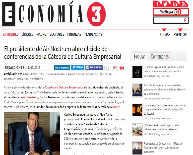 REVISTA DE PRENSA: la conferencia de Carlos Bertomeu en la inauguracion de 'Qui pot ser empresari?', en Economía 3